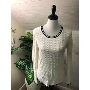 Tommy Hilfiger white and navy stripe crew sweater